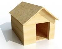 Casa de cachorro de madeira sem pintura